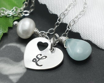 Personalized Heart Necklace, Custom birthstone and initial, Aquamarine & pearl, Double hearts pendant,Bridesmaids jewelry