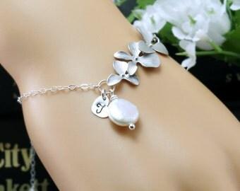 Personalized Bracelet, Coin pearl, Tiny heart charm, Orchid bracelet, Initial letter, Bridesmaid bracelet, Adjustable chain