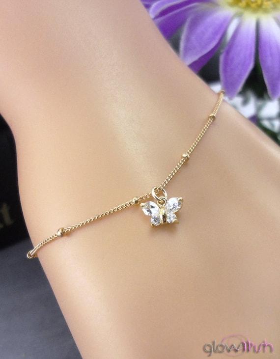 Cubic Zirconia Butterfly Bracelet, Charm Bracelet, 14K Gold Filled Bracelet, Wedding Jewelry, Bridesmaid Gifts
