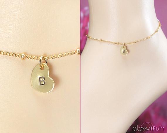 Personalized Anklet, Beach Wedding, Custom Initial, Gold Filled Ankle Bracelet, Adjustable