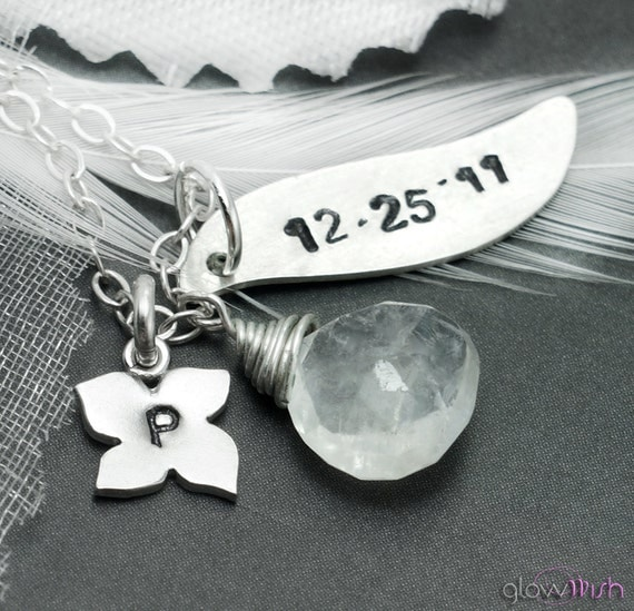Birthstone necklace, Custom letter and date, Initial necklace, Rainbow Moonstone, June birthstone, Anniversary, Bridesmaid Jewelry Stamped