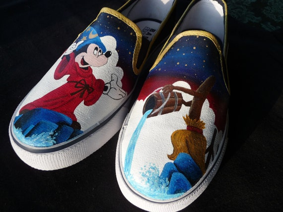 Custom Hand Painted Shoes - Sorcerer Mickey Mouse