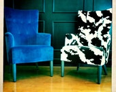 Wing Chairs - Blue Veltvet or Cow Print (Buy Together or Separate)