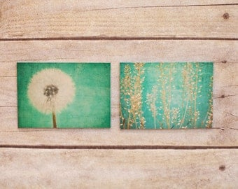 set of 2 turquoise refrigerator magnets,  still life photography, home decor, photo magnet, dandelion, photography, magnets