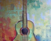 """Original Painting - """"The Color of Music"""" Abstract  Guitar"""