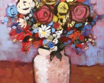 """Original painting """" Festive Flowers"""" Abstract painting, Floral painting"""