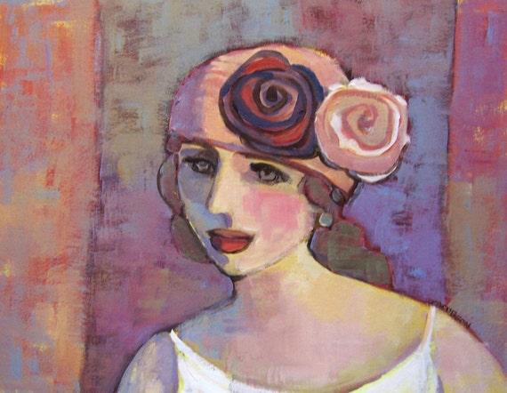 """Original Painting """" Estelle"""", Portrait, Abstract"""