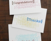 Letterpress 3-notecard set, Thanks, Congratulations, Happy Birthday