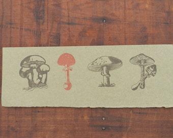 Letterpress Print of 4 Mushrooms