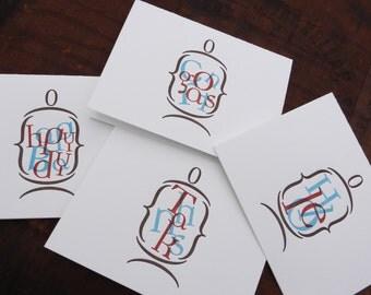 Set of 4 Letterpress Greeting Cards