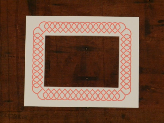 Letterpress Picture Frame Mat With Pink Interlocking Geometric Pattern