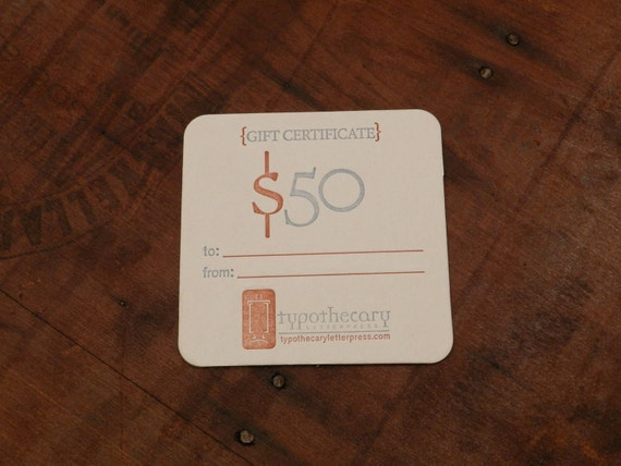 Gift card coaster for Typothecary Letterpress - 50.00 value