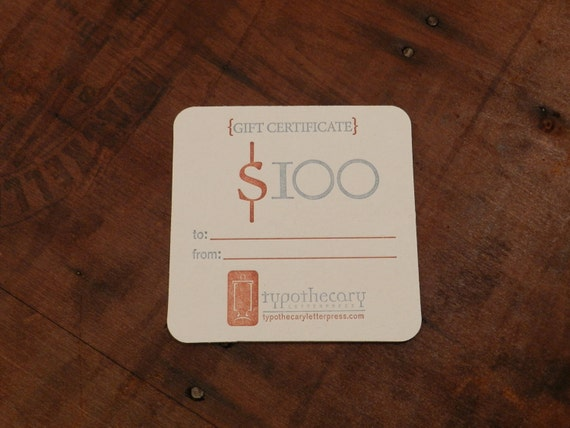 Gift card coaster for Typothecary Letterpress - 100.00 value