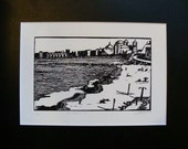 "Cadiz Coastline Spain - ""The Beginning"" Polymer Plate relief print - Black and White"