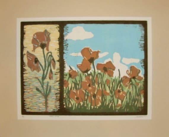 "Poppy Wildflower print - ""Poppy Study"" Colorful Woodblock print"