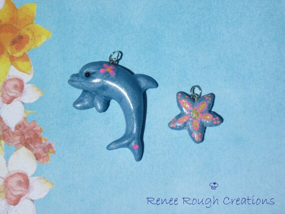 Free Shipping -Dolphin and Starfish Charm Set-Polymer Clay-Free Shipping USA & CAN