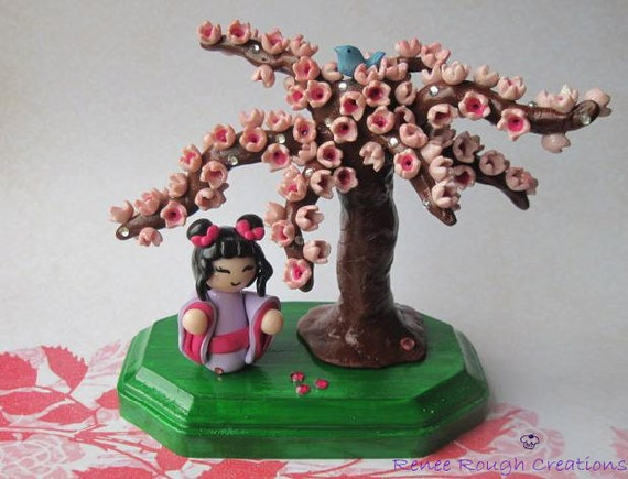 Free Shipping -Japanese Chibi Girl with Cherry Blossom Tree- Polymer Clay-Free Shipping USA & CAN