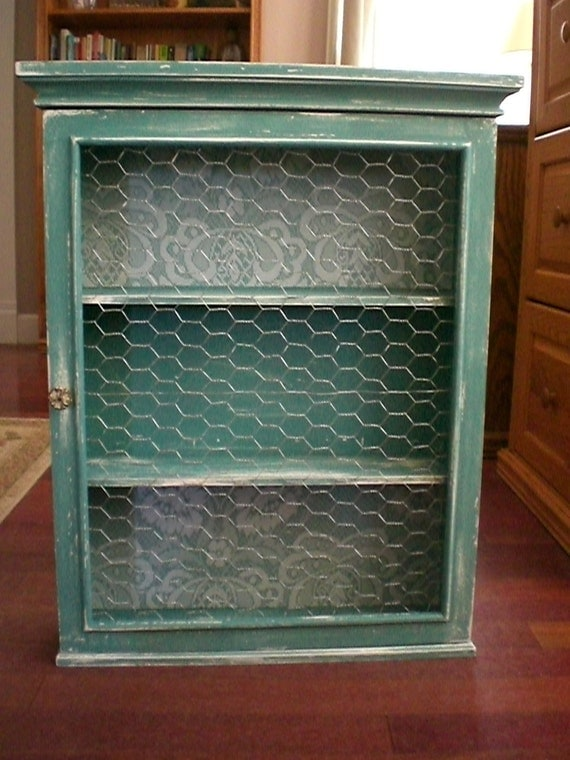Rustic Chickenwire Display Cabinet