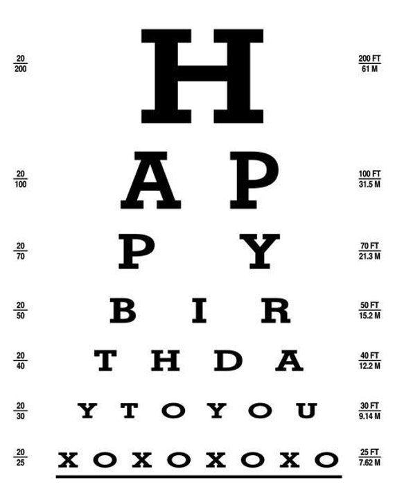 ... Exam Chart - Happy Birthday to You - 11x14 Printable - LSS-120 on Etsy