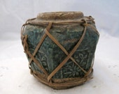 Antique green pottery Chinese Ginger Jar pot Shabby French Country English Cottage  Chic