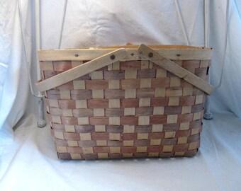 Vintage farm Gathering Splint Basket Rustic Primitive Country Cottage Shabby French Farmhouse Chic