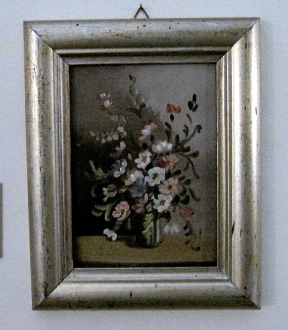 vintage original Floral Oil Painting silver gold frame Shabby French Country English Cottage Farmhouse chic