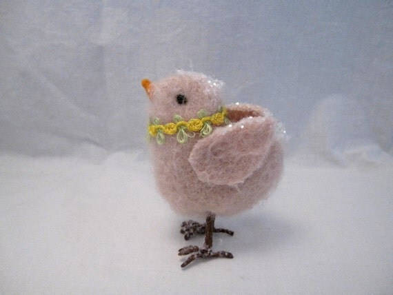 Easter pink Baby Chick chicken ornament decoration glitter Shabby French Country Farmhouse chic