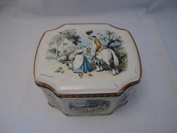 Toile candy Tea Tin Sewing button Box Rustic Primitive English Country Cottage Shabby French Farmhouse Chic