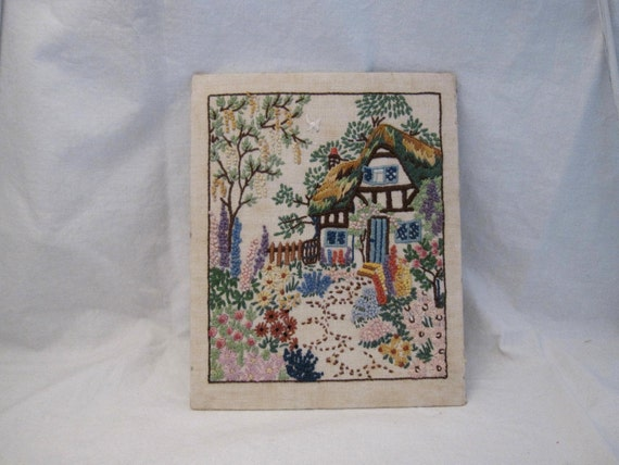 Antique English Country Garden embroidered Picture Thatched cottage Shabby Cottage Country Farmhouse prairie chic