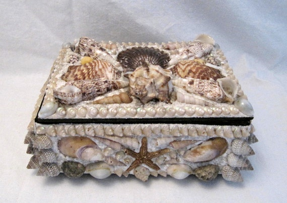 vintage Sailor Art seashell sewing jewelry  trinket Box Beach Bungalow Shabby Cottage  chic recycled