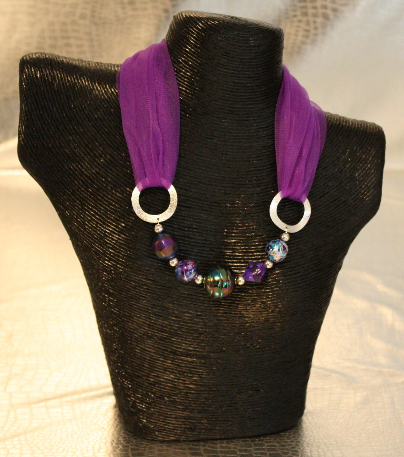 purple beaded necklace scarf
