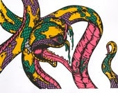 Tattoo Style Snake Hand Pulled Screen Print - Poster Size