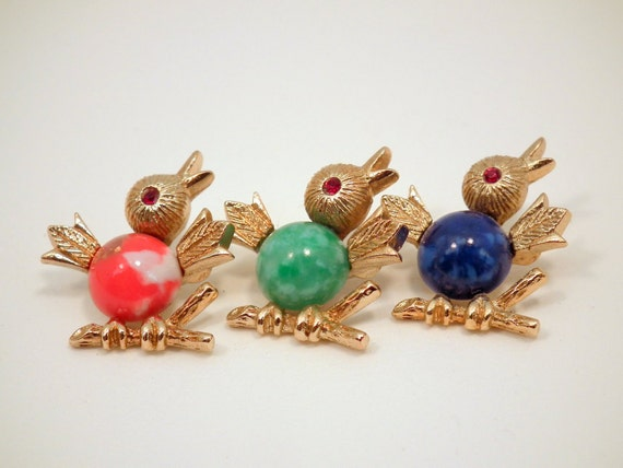Vintage Sarah Coventry Signed Bird Brooch Lapel Pins Mothers Day Gift