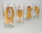 Astrological Glass Tumblers, Set of 4, Gemini Scorpio Aquarius Taurus, Retro Zodiac Glassware 1960's 1970's