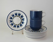 RESERVED - Premiere Colorama Cup and Saucers, Aladin Midnight Blue, Vintage Dinnerware 1970's