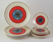 Vintage Dinnerware Set for 5, Lenox China Temper-Ware, Staccato Tribal, Vintage Dinnerware Dishes 1970's
