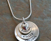 Custom Personalized Sterling Hand Stamped Cupped Three Layers of Love Mommy Name Necklace