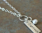 Custom Personalized Hand Stamped Name Tag with Birthstone Mommy Necklace - Stamp Both Sides