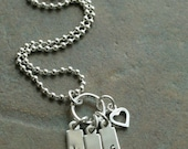 Custom Personalized Hand Stamped Bitty Initials Three Tag Charm Brag Mommy Necklace