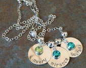 Custom Personalized Simplicity Curve Trio Hand Stamped Name Birthstone Necklace - Mother's Day