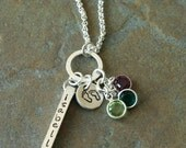 Custom Personalized Hand Stamped Pitter Patter 4 Side Bar Mommy Name Birthstone Necklace