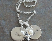 Custom Personalized Hand Stamped My Heart Mommy Name Birthstone Charm Necklace