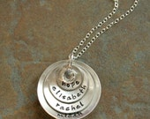 Custom Personalized Hand Stamped Cupped Four Layers Stacked Mommy Name Necklace - Stamp Both Sides