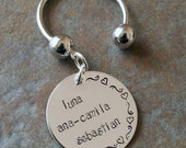 Personalized Hand Stamped Sterling Name Family Key Ring Chain - Both Sides