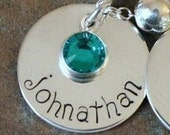 Custom Personalized Hand Stamped Medium Disc Tag with Birthstone Pendant Charm Add On