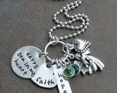 Custom Personalized Hand Stamped Carry You In My Heart Memorial Sterling Mother's Necklace
