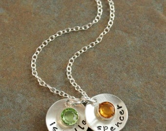 Custom Personalized Hand Stamped Brag Petite Name Duo with Birthstone Necklace for Mom Mother