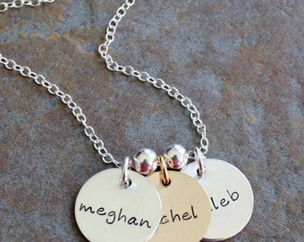 Custom Personalized Hand Stamped  Two Tone Three Charm Disc Mommy Name Family Brag Necklace