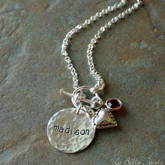 Custom Personalized Hand Stamped Hammered My Heart Name Birthstone Mommy Brag Necklace