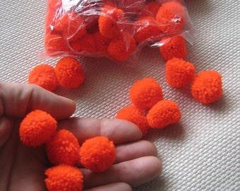100 Orange color-Yarn Pom Poms - pom pom, cotton beads Handmade pom poms